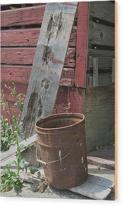 Barn And Barrel Wood Print by Todd Sherlock