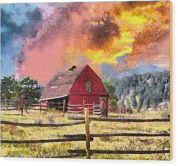 Barn And Sky Wood Print by Anthony Caruso