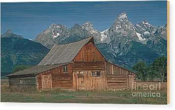 Wood Print featuring the photograph Barn And Tetons by Jerry Fornarotto
