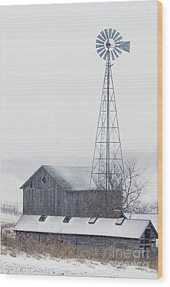 Barn And Windmill In Snow Wood Print by Larry Ricker