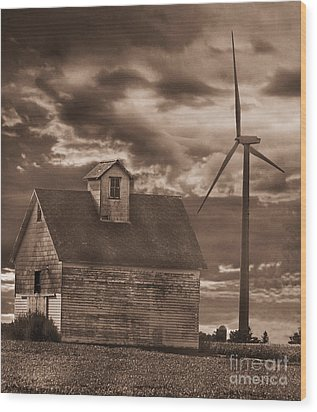 Barn And Windmill Wood Print by Jim Wright
