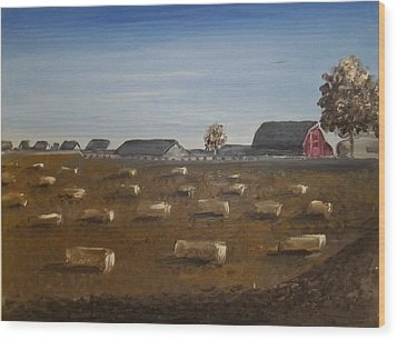 Wood Print featuring the painting Barn by Angela Stout