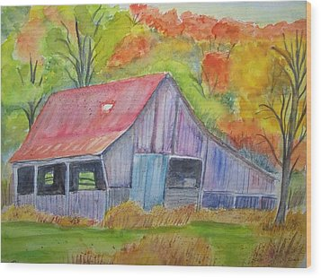 Barn At Round Bottom Wood Print by Belinda Lawson