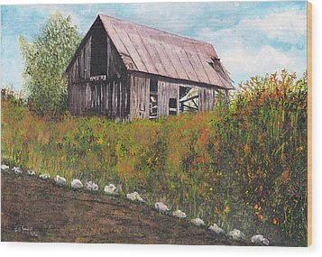 Wood Print featuring the painting barn Grahamsville NY by Stuart B Yaeger