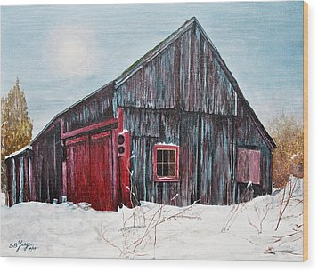 Wood Print featuring the painting Barn In Snow Southbury Ct by Stuart B Yaeger