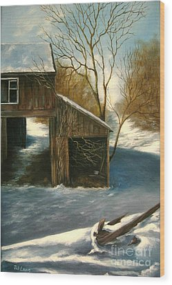 Barn In The Snow Wood Print