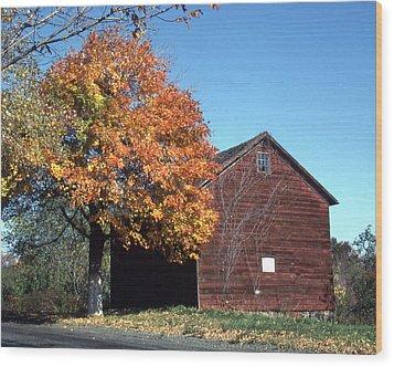 Barn Of Cornelius A Quackenbush Wood Print by Donald Gaudiomnte