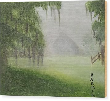 Barn On Foggy Morning Wood Print