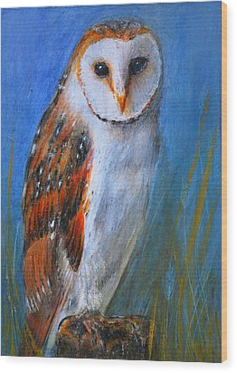 Wood Print featuring the painting Barn Owl by Lynn Hughes