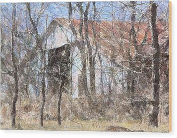 Barn Through Trees Wood Print