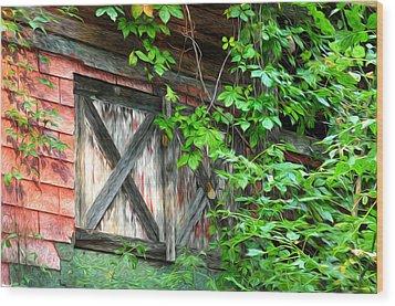 Barn Window Wood Print by Bill Cannon