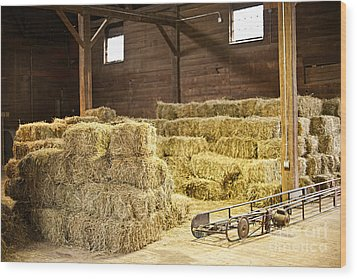 Barn With Hay Bales Wood Print by Elena Elisseeva