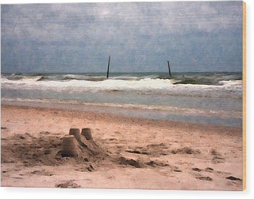 Barnacle Bill's And The Sandcastle Wood Print by Betsy Knapp