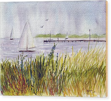 Wood Print featuring the painting Barnegat Sails by Clara Sue Beym