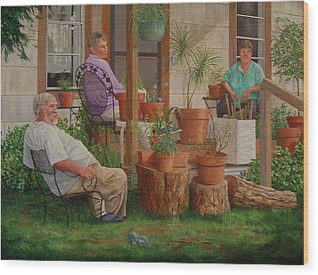 Wood Print featuring the painting Baron's Estate by AnnaJo Vahle