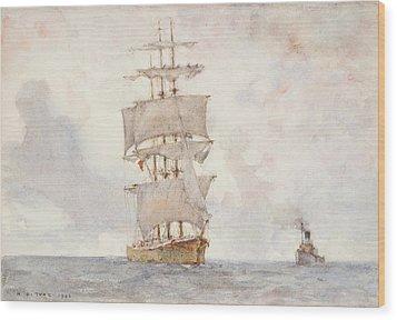 Barque And Tug Wood Print by Henry Scott Tuke