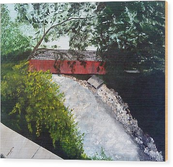 Barrackville Covered Bridge Wood Print by Carol Van Sickle