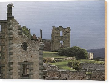 Barred Windows And Stone Ruins At Port Wood Print by Jason Edwards