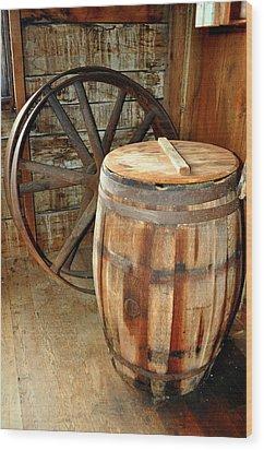Barrel And Wheel Wood Print by Marty Koch