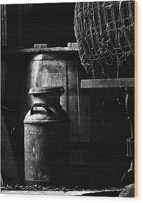 Barrel In The Barn Wood Print by Jim Finch