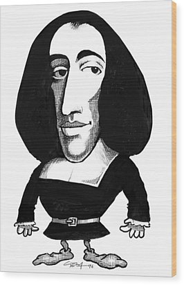 Baruch Spinoza, Caricature Wood Print by Gary Brown
