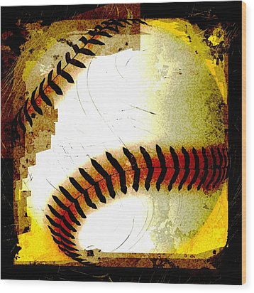 Baseball Abstract Wood Print by David G Paul