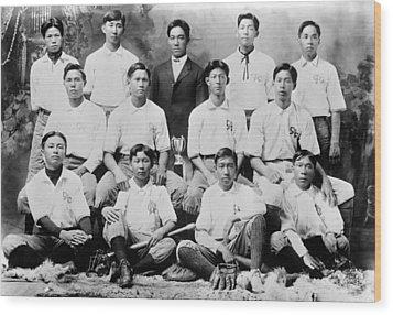 Baseball. Chinese-american Baseball Wood Print by Everett