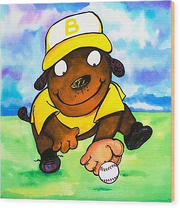 Baseball Dog 3 Wood Print by Scott Nelson