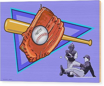 Baseball Wood Print by Erasmo Hernandez