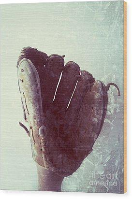 Baseball Glove Vertical Wood Print by Ruby Hummersmith