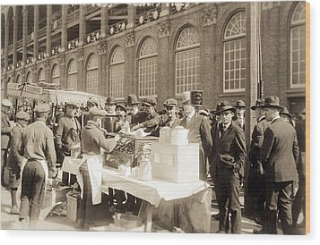 Baseball. Hot Dog Vendors Sell To Fans Wood Print by Everett