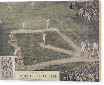 Baseball, New York At Boston, 1889 Wood Print by Everett