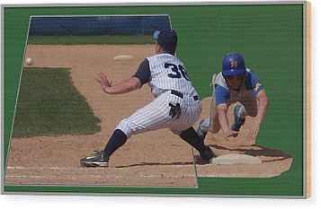 Baseball Pick Off Attempt 02 Wood Print by Thomas Woolworth