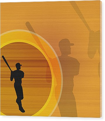 Baseball Player About To Swing, Silhouette (digital) Wood Print by Chad Baker