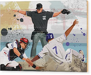 Baseball Player Safe At Home Plate Wood Print by Greg Paprocki