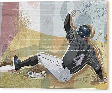 Baseball Player Sliding Into Base Wood Print by Greg Paprocki
