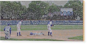 Baseball Playing Hard Digital Art Wood Print by Thomas Woolworth