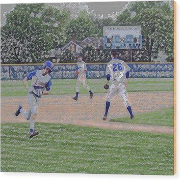Baseball Runner Heading Home Digital Art Wood Print by Thomas Woolworth
