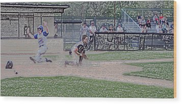 Baseball Runner Safe At Home Digital Art Wood Print by Thomas Woolworth