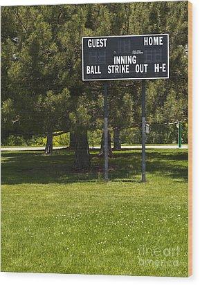 Baseball Scoreboard Wood Print by Thom Gourley/Flatbread Images, LLC