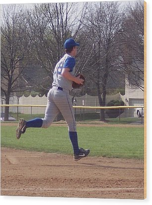 Baseball Step And Throw From Third Base Wood Print by Thomas Woolworth