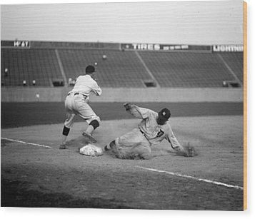 Baseball. Ty Cobb Safe At Third Wood Print by Everett