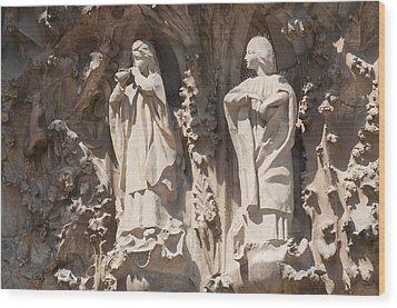 Basilica Sagrada Familia Nativity Facade Detail Wood Print by Matthias Hauser