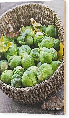 Basket Of Brussels Sprouts Wood Print by Elena Elisseeva