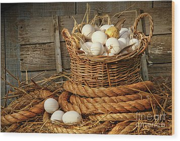 Basket Of Eggs On Straw Wood Print by Sandra Cunningham
