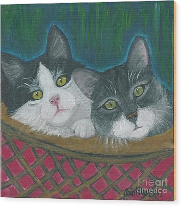 Basket Of Kitties Wood Print