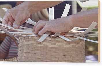Wood Print featuring the photograph Basket Weaver by Wanda Brandon