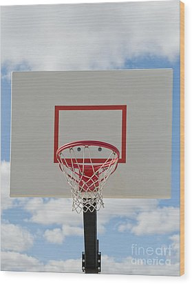 Basketball Backboard With Hoop And Net Wood Print by Thom Gourley/Flatbread Images, LLC