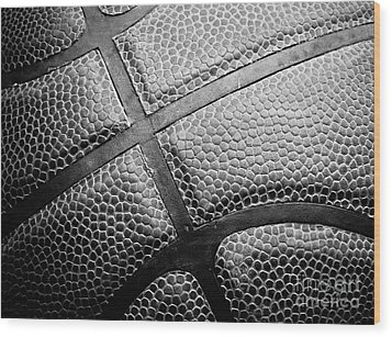 Basketball -black And White Wood Print by Ben Haslam