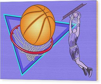 Basketball Wood Print by Erasmo Hernandez